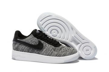 260886535 Nike Men Air Force 1 Low Ultra Flyknit Bright Grey Black LifeStyle Shoes  817419
