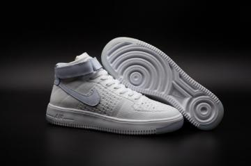 99538d1532 Nike Air Force One AF1 Ultra Flyknit Mid Triple White Casual Shoes 817420- 100