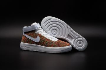 big sale faad9 32e65 Nike Air Force one AF1 Ultra Flyknit Mid Multi color White Gold Strap  817420-700