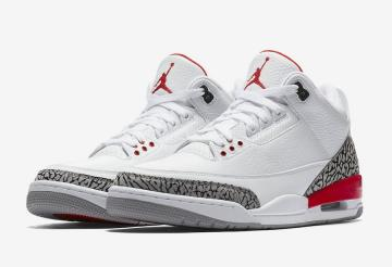 big sale e0428 faeaa Air Jordan 3 Katrina White Cement Grey Black Fire Red 136064 116