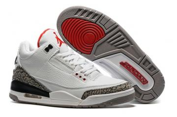 a7d83c2e5d31 Nike Air Jordan III 3 White Fire Red Cement Grey Black Men Basketball Shoes  136064-105