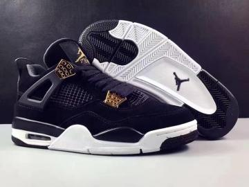 8491f16ba53 Nike Air Jordan 4 IV Royalty AJ4 Retro Men Shoes Black Gold 308497-032