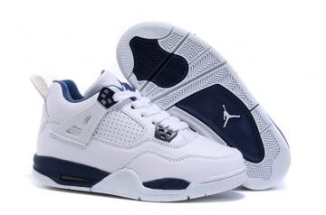59312bd3654 Nike Air Jordan 4 Retro BG Legend Blue Youth Kid Shoes 408452 107