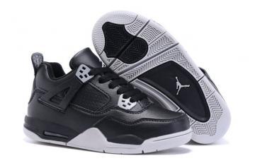 71da90c68d9318 Nike Air Jordan Retro 4 IV Black Tech Grey Oreo Baby TD Kid 408452 003