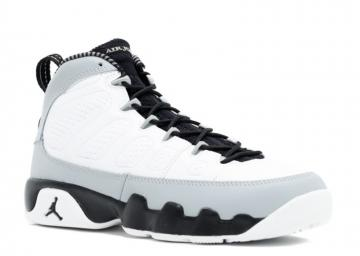 19f0b42c66f88e Air Jordan 9 GS Barons White Black-Wolf Grey 302359-116