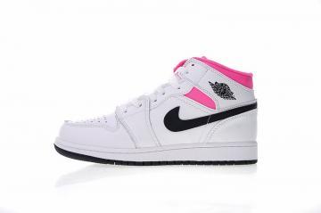 7dbe53f698b1a4 Air Jordan 1 Mid Hyper White Black Pink Casual Sneakers 555112-106