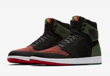 0092faaf8d9262 Air Jordan 1 Retro High Flyknit BHM Black Lucid Green University Red-Black  AA2426-026