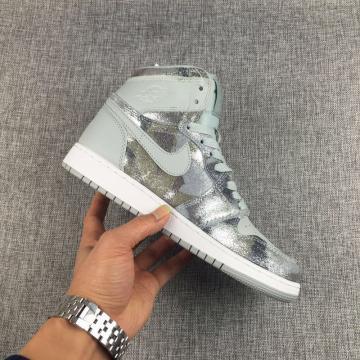 e8109ec11a10b3 NEW DS 2017 Nike Air Jordan I 1 Retro Grey Camouflage Silver Women Shoes