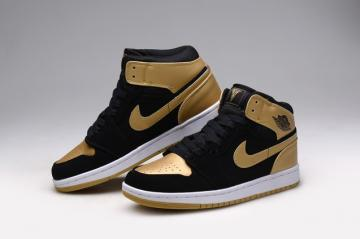 the best attitude 8a9e7 fa0f7 Nike Air Jordan I 1 Retro Mens Shoes Leather Black Gold Anthony 332550 026