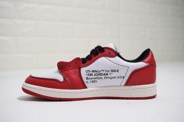 93403331d9df2 OFF White x Nike Air Jordan 1 Low Red White Black AA3834-101
