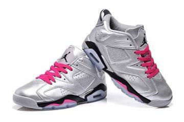 c820fbd0e3fd9a Nike Air Jordan Retro 6 VI GG GS Valentines Day Silver Pink 543390 009