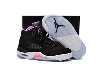 best sneakers ea93e b29c5 Nike Air Jordan V 5 Retro Kid Children Basketball Shoes Black White Pink  845036-003