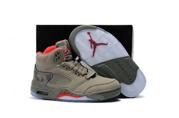 25e76fab0b4 Nike Air Jordan V 5 Retro Kid Children Basketball Shoes Grey Red White