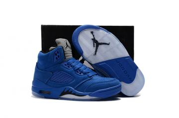 0813a63a79c431 Nike Air Jordan V 5 Retro Kid Children Basketball Shoes Royal Blue White
