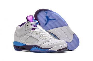 cc879e52a0ecaa Nike Air Jordan V 5 Retro White Pueple Blue Men Shoes 136027