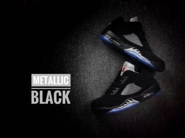 f987eb885c96b8 Nike Air Jordan 5 V Retro Low Metallic Black Navy Blue Men Basketball Shoes