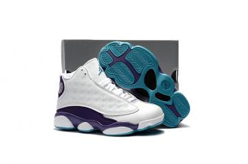 e35914c19f8 Nike Air Jordan 13 Kids Shoes White Purple Blue 439358-107