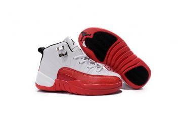 442000e784e000 Nike Air Jordan 12 Retro White Black Varsity Red Kid Shoes 153265 110