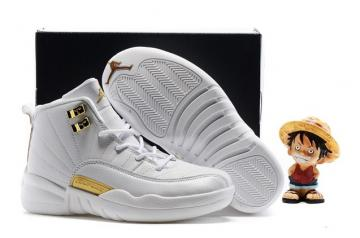 newest ba624 30857 Nike Air Jordan Retro 12 White Metallic Gold BG GS 130690 002