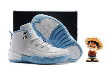 31b4ee0fef3 Nike Air Jordan Retro 12 White University Blue Melo Girls Kids 510816 127