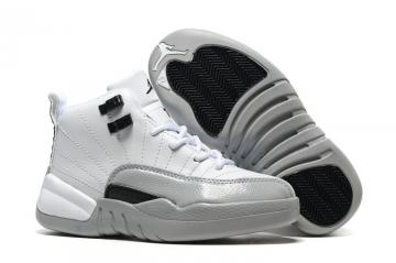 5a14b137ae9265 Nike Air Jordan XII 12 Kid Children Shoes White Grey Black 510815-029