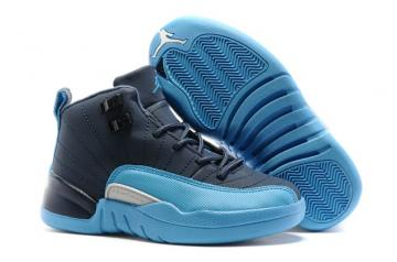 264b11cd994 Nike Air Jordan XII 12 Retro Kids Children Shoes Dark Blue Royal Blue White  130690