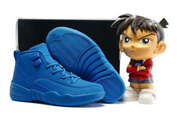 496bd75edba Nike Air Jordan XII 12 Retro Kids Children Shoes Ture Blue 130690