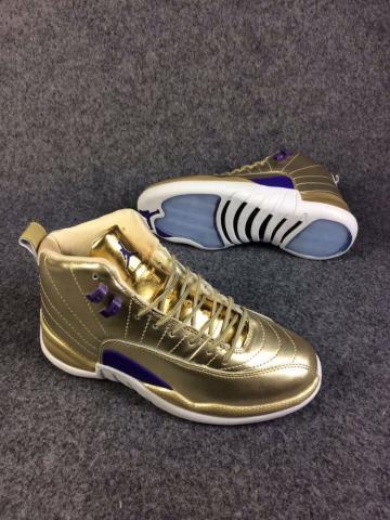 4c6f3a9a7 Nike Air Jordan 12 XII Retro Men Shoes Metalic Gold Blue 130690