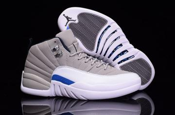 a83fe5bfeb9f56 Nike Air Jordan XII 12 Retro Grey White Blue Men Shoes 130690 007