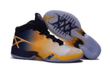 the latest ecb2d a71b9 Nike Air Jordan XXX Retro Men White Silver Yellow Dark Blue Basketball  Shoes 811006