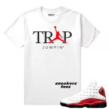 90f64aa0361 Match Jordan 13 OG Chicago Trap Jumpin White T-shirt