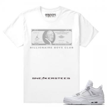 ce9d002db041 Match Air Jordan 4 Pure Money The Billionaire Club White T shirt