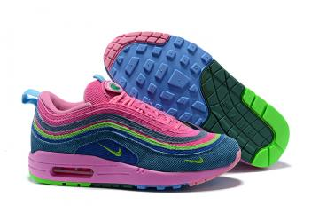 f1f006544c Nike Air Max 97 Max 1 Sean Wotherspoon Unisex Running Shoes Pink Green
