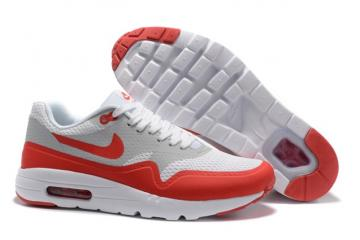 reputable site bbd57 685ae Nike Air Max 1 Ultra Essential Grey Red White Men Running Shoes OG  819476-006