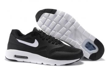 a42201d81c3e Nike Air Max 1 Ultra Essential Running Sneakers Black White Swoosh  819476-108