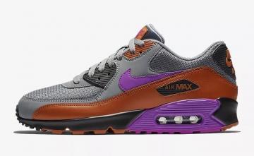 05805bf171d4 Nike Air Max 90 Essential Cool Grey Dark Russet Black Vivid Purple  AJ1285-013