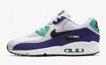23d935fc75 Nike Air Max 90 Essential White Hyper Jade Court Purple Black AJ1285-103