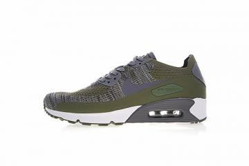 82bc71d42c21 Nike Air Max 90 Ultra 2 Flyknit Rough Green Dark Grey White 875943-300