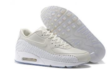 new product 4330c 04726 Nike Air Max 90 Premium Woven Phantom White Lt Iron Ore Women Running Shoes  833129-005