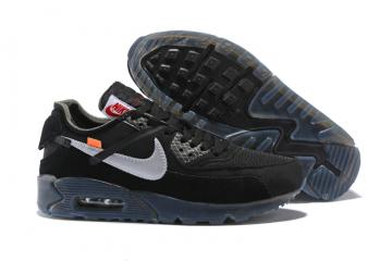 new arrival b269c 0bf08 OFF WHITE x Nike Air Max 90 OW Men Running Shoes Black All Silver