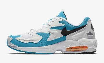 8ad3aead0b19 Nike Air Max 2 Light White Blue Lagoon Laser Orange Black AO1741-100