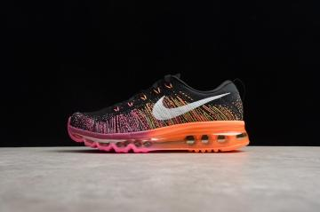 64e15cf0e0ee Nike Flyknit Air Max Multi Black Orange Pink Running Shoes 620659-015