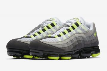 b55357ebba1 Nike Air VaporMax 95 OG Neon Black Volt Medium Ash Dark Pewter Dust Granite  AJ7292 001