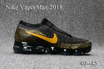 513fb0a97dd Nike VaporMax COMME des GARCONS 2018 Flyknit black gold men Slide Shoes