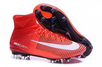 sports shoes d217c 4986d NIke Mercurial Superfly V FG ACC Soccers Shoes Red Orange Black White