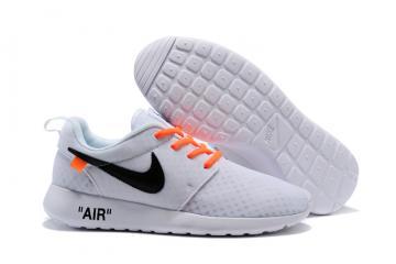 fbcbe571bfcc Off White Nike Roshe One BR Running Shoes White Black Orange 718552