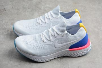 bd13263ebba51 Nike EPIC React Flyknit Running Shoes White Blue AQ0067-101