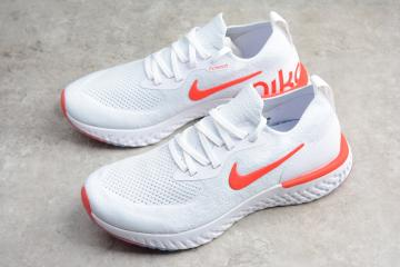 8856b19af7d05 Nike EPIC React Flyknit Running Shoes White Orange AQ0067-800