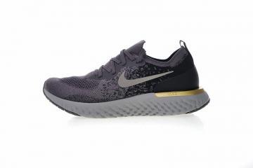 64391b35104a9 Nike Epic React Flyknit Grey Black Gold Running Shoes AQ0067-009
