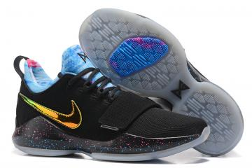 f00d488598a2 Nike Zoom PG 1 Paul George Men Basketball Shoes Black Blue Gold 878628